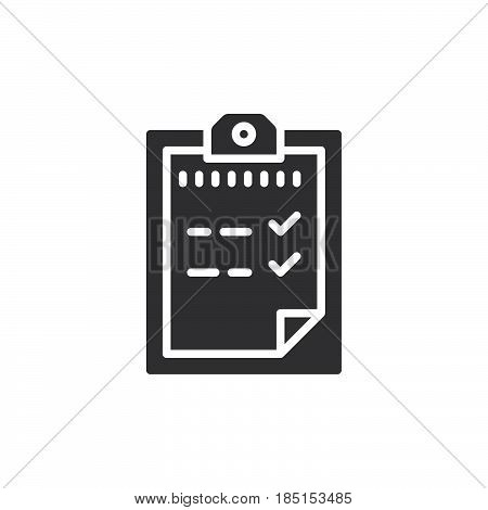 Passed test Clipboard icon vector filled flat sign glyph style pictogram isolated on white. Symbol logo illustration. Pixel perfect