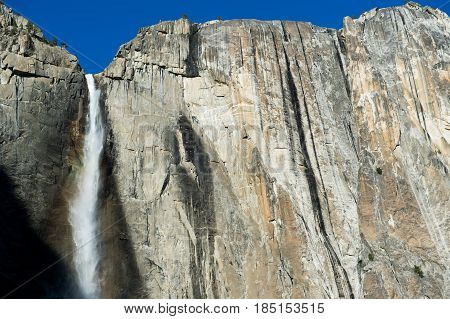 Yosemite Falls with clear blue sky in Yosemite National Park California USA