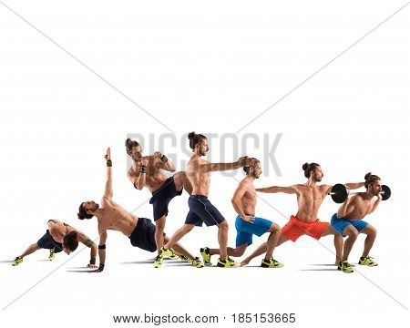 Man in a stretching pilates and fitness workout positions