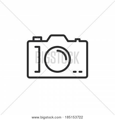Photo camera outline icon line vector sign linear style pictogram isolated on white. Symbol logo illustration. Editable stroke. Pixel perfect
