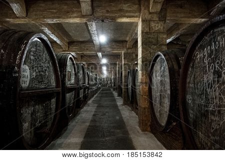 Yerevan, Armenia - December 30, 2016: Wooden Barrels Of Aged Wine At Cellar Of Brandy Factory Noy Of