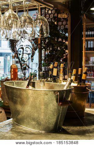 Madrid, Spain - February 12, 2017: Wine Bottles In Ice At Madrid San Miguel Market, Spain.