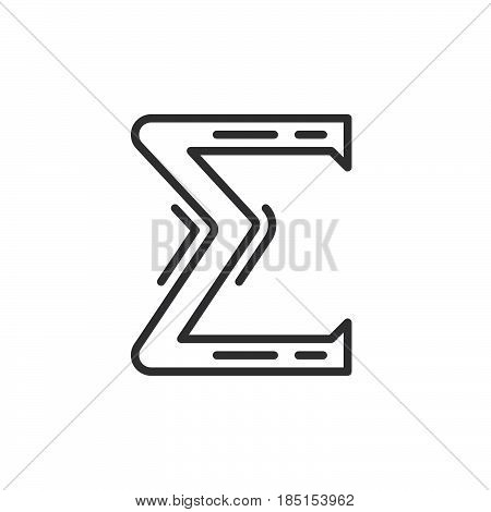 Greek letter sigma outline icon line vector sign linear style pictogram isolated on white. Symbol logo illustration. Editable stroke. Pixel perfect
