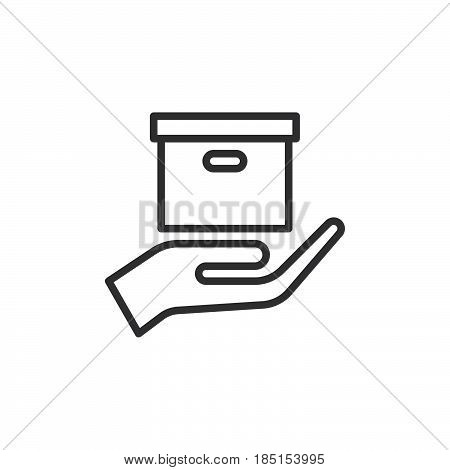 Hand holding parcel Delivery service outline icon line vector sign linear style pictogram isolated on white. Symbol logo illustration. Editable stroke. Pixel perfect