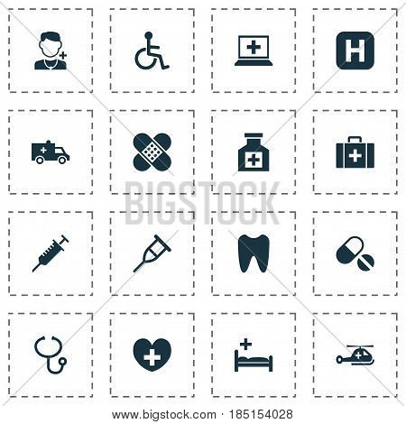 Medicine Icons Set. Collection Of Painkiller, Copter, Review And Other Elements. Also Includes Symbols Such As Disabled, Database, Stings.