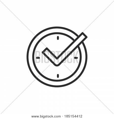 Check mark on clock real time protection outline icon line vector sign linear style pictogram isolated on white. Symbol logo illustration. Editable stroke. Pixel perfect