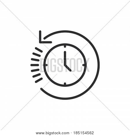 Clock with arrow around outline icon line vector sign linear style pictogram isolated on white. History symbol logo illustration. Editable stroke. Pixel perfect