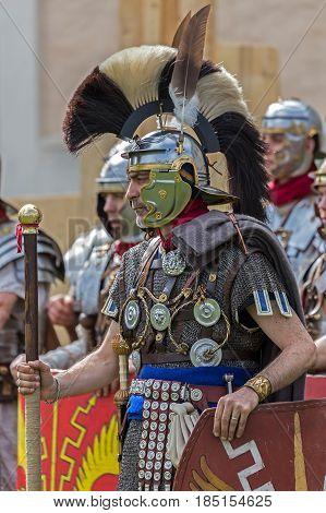 ALBA IULIA ROMANIA - APRIL 29 2017: Roman soldier in battle costume present at APULUM ROMAN FESTIVAL organized by the City Hall.