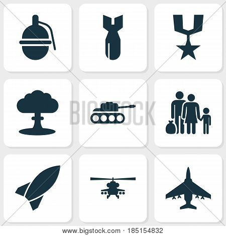 Combat Icons Set. Collection Of Aircraft, Bombshell, Panzer And Other Elements. Also Includes Symbols Such As Bomber, Panzer, Gong.
