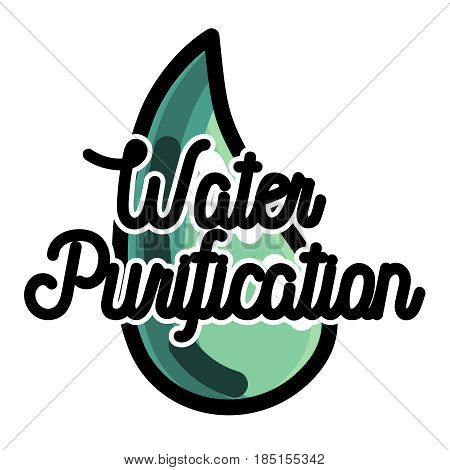 Color vintage water purification emblem. Vector illustration, EPS 10