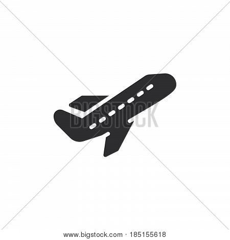 Airplane take off icon vector filled flat sign solid pictogram isolated on white. Departure symbol logo illustration