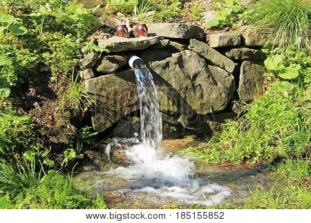 clean spring of water in Beskydy mountains, Czech Republic