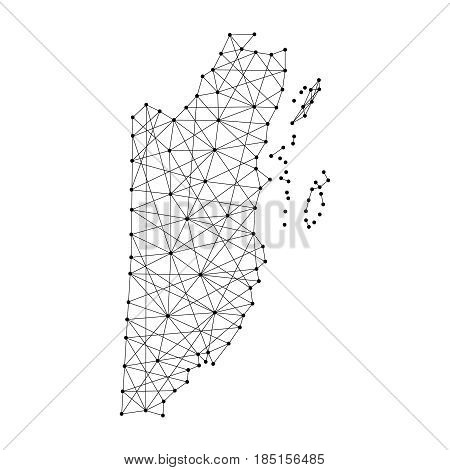Map of Belize from polygonal black lines and dots of vector illustration