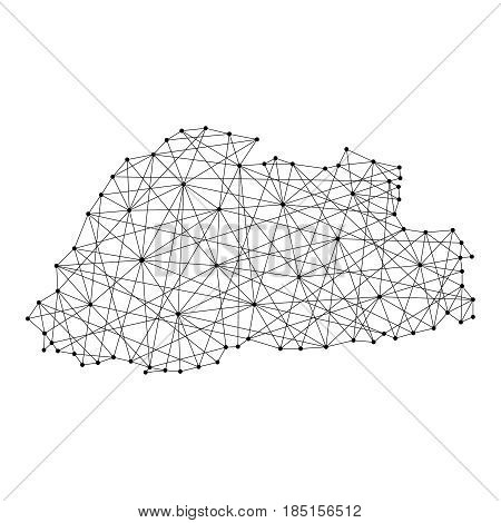 Map of Bhutan from polygonal black lines and dots of vector illustration