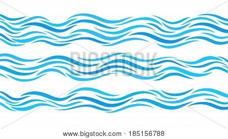 Blue transparent wave patterns. Set of elements water.