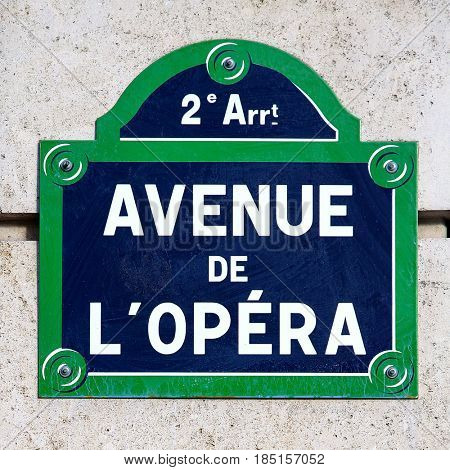 The Avenue De L`Opera, situated in the 2nd arrondissement of Paris, France. The famous Paris Opera House is situated here.