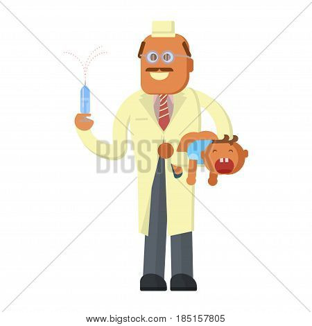 Illustration of a Scared baby Crying Loudly and a Doctor makes an injection. Vector illustration eps 10