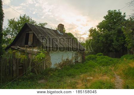Forester's Cabin in the forest at evening