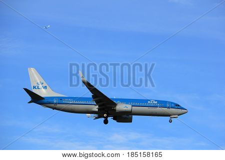 Amsterdam the Netherlands - July 15th 2016:PH-BCA KLM Royal Dutch Airlines Boeing 737 approaching Polderbaan runway at Schiphol Amsterdam Airport arriving from Paris France
