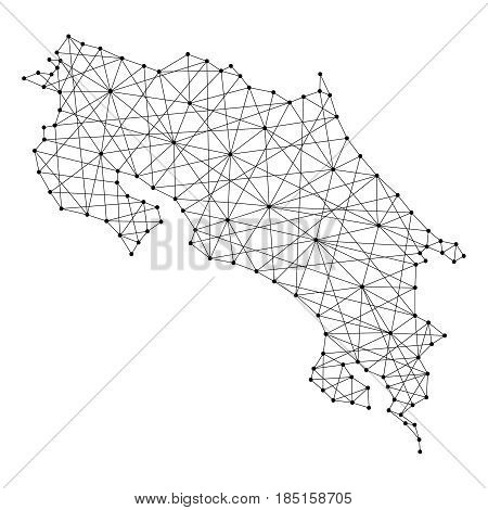 Map of Costa Rica from polygonal black lines and dots of vector illustration