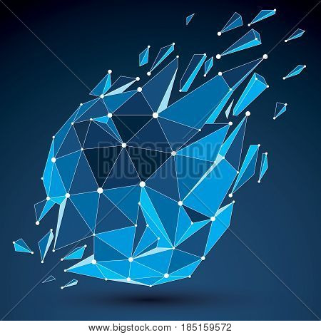 3D Vector Low Poly Object With Blue Connected Lines And Dots, Geometric Wireframe Shape With Refract