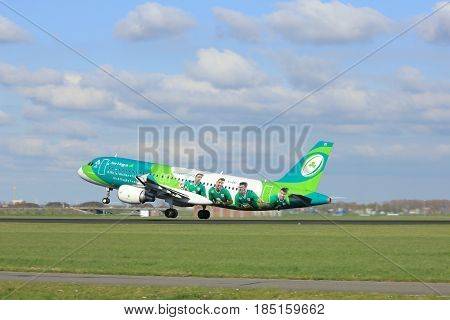 Amsterdam the Netherlands - April 7th 2017: EI-DEI Aer Lingus Airbus A320-200 takeoff from Polderbaan runway Amsterdam Airport Schiphol. Painted in