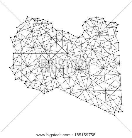 Map of Libya from polygonal black lines and dots of vector illustration