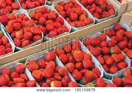 Fresh ripe strawberries in boxes for sale at a market