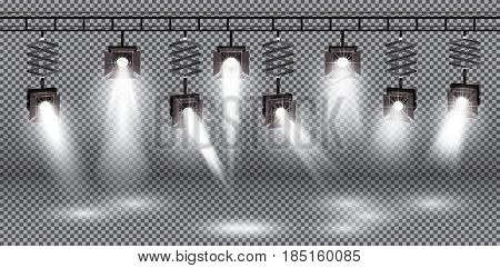 Spotlight Set with Different Light Effect on Transparent Background.