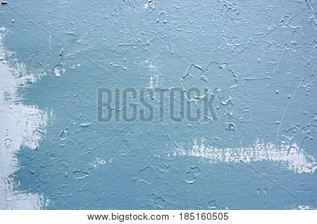 Close up obsolete light blue painted surface background