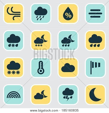 Weather Icons Set. Collection Of Snowy, Colors, Breeze And Other Elements. Also Includes Symbols Such As Sleet, Douche, Colors.