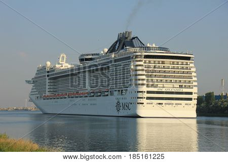 Velsen The Netherlands - July 2nd 2015: MSC Splendida a cruise ship owned and operated by MSC Cruises. It is 1093.5 ft (333.30 m) long