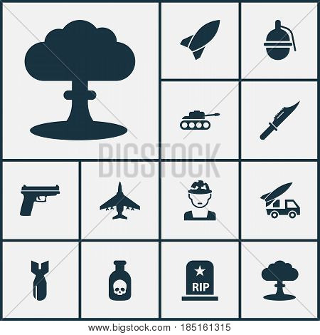 Warfare Icons Set. Collection Of Weapons, Ordnance, Aircraft And Other Elements. Also Includes Symbols Such As Grave, Tank, Poison.