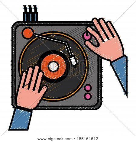 dj turntable icon over white background. colorful desing. vector illustration