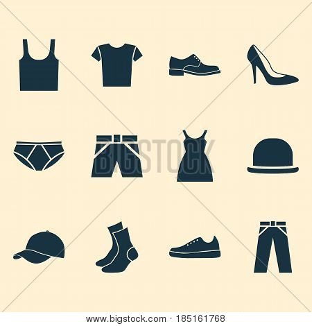 Clothes Icons Set. Collection Of Pants, Dress, Trilby And Other Elements. Also Includes Symbols Such As Socks, Shoes, Trunks.