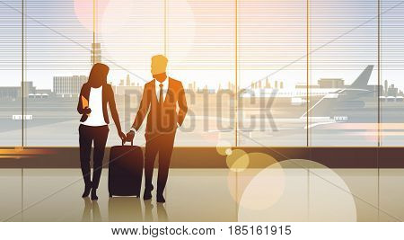 Silhouette Couple In Airport Waiting Hall Departure Terminal Interior Check In Flat Vector Illustration