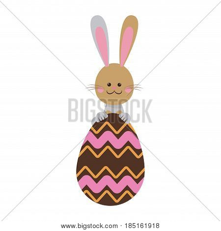 cute easter bunny with chocolate egg celebration vector illustration