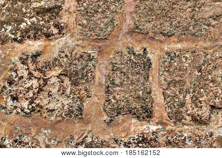 Background Of Stone Brown Wall Texture Photo.