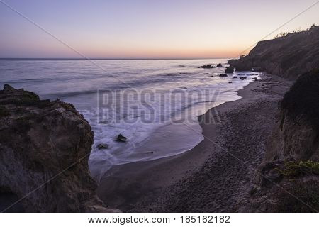 Early evening view of El Matador State Beach in Malibu California.