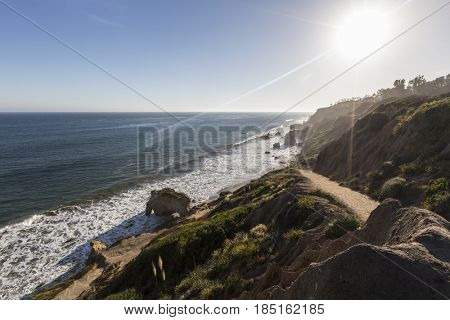 Malibu California coastal bluff trail at El Matador State Beach.