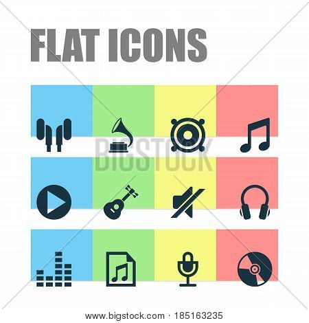 Music Icons Set. Collection Of Equalizer, Earmuff, Phonograph And Other Elements. Also Includes Symbols Such As Playlist, Musical, File.