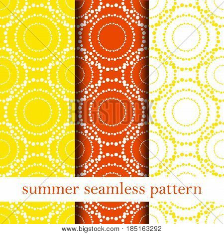 set of orange abstract seamless pattern with yellow and white circle. vector.