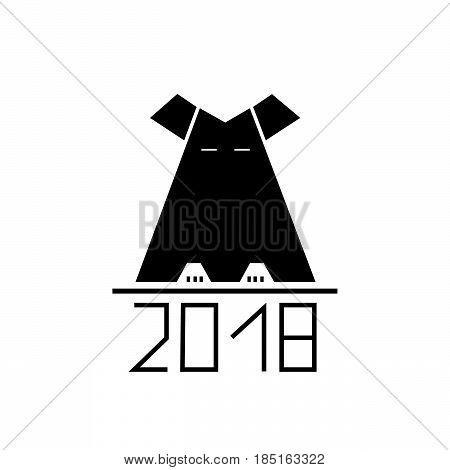 black abstract dog as symbol 2018 year. vector