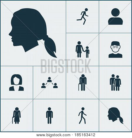 People Icons Set. Collection Of Running, Businesswoman, Scientist And Other Elements. Also Includes Symbols Such As Head, Couple, Mister.