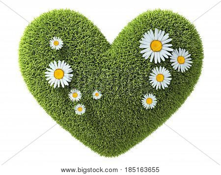Abstract one heart green in grass. 3d illustration