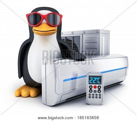 air-conditioner and Penguin on white background (done in 3d)