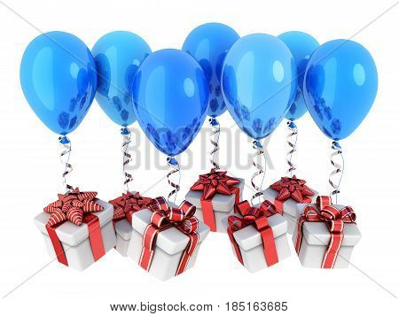 Gifts fly on balloons and white background. 3d illustration