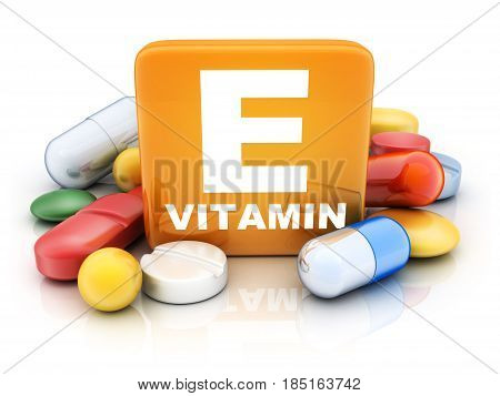Many tablets and vitamin E on white background. 3d illustration