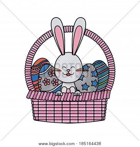 drawing easter rabbit with basket egg festive vector illustration