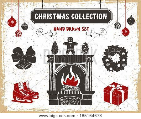 Hand drawn textured vintage Christmas icons set with fireplace gingerbread man pine cones ice skates bells gift box and wreath vector illustrations.
